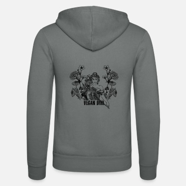 Vegan Diva - lady with flowers - Unisex Zip Hoodie