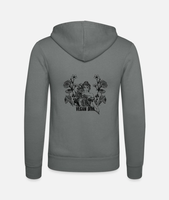 Animal Welfare Hoodies & Sweatshirts - Vegan Diva - lady with flowers - Unisex Zip Hoodie grey