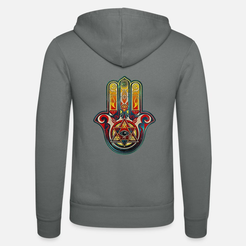 Hand Hoodies & Sweatshirts - Hamsa Hand Vintage, All-seeing Eye, Protection - Unisex Zip Hoodie grey