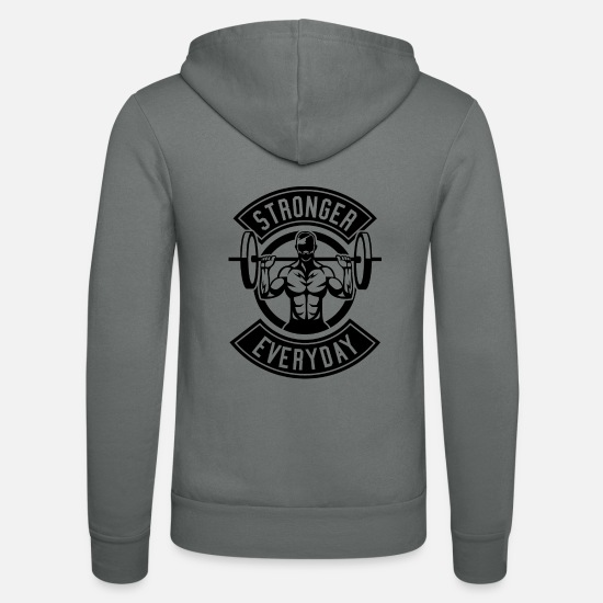 Dumbbells Hoodies & Sweatshirts - Stronger Than All - Unisex Zip Hoodie grey