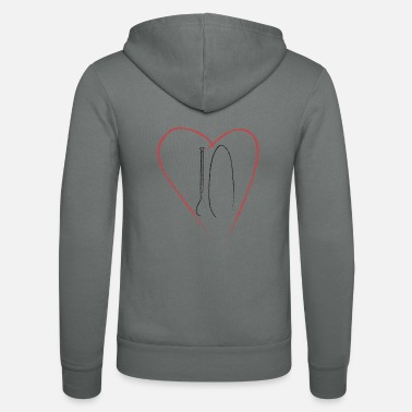 Expression Stand up paddling heart love - Unisex Zip Hoodie