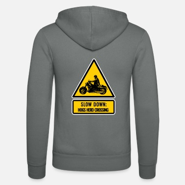Hog slow down: hogs herd crossing - Unisex Zip Hoodie