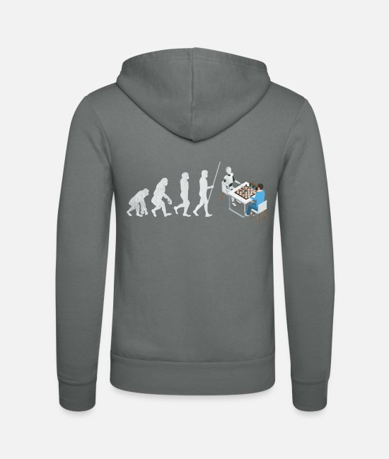 Chess Hoodies & Sweatshirts - Chess computer evolution gift - Unisex Zip Hoodie grey