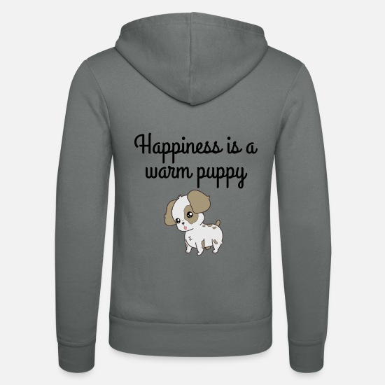 Happiness Sweat-shirts - Doggy happiness est un chiot - Veste à capuche unisexe gris