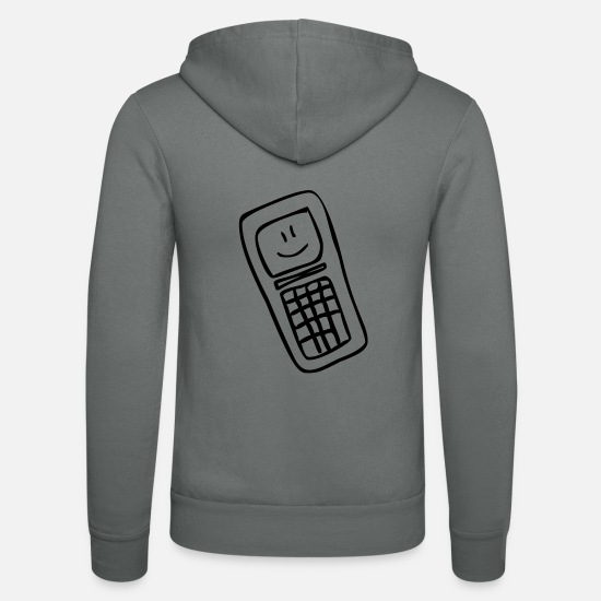 Grin Hoodies & Sweatshirts - Mobile Smiley - Unisex Zip Hoodie grey