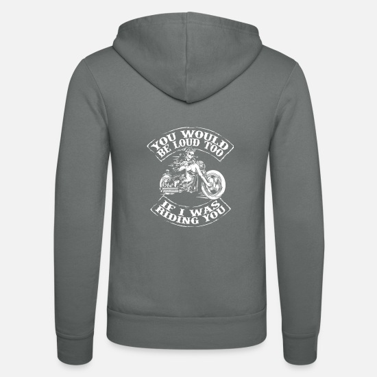 Birthday Hoodies & Sweatshirts - Motorcycle Biker Saying Funny - Unisex Zip Hoodie grey