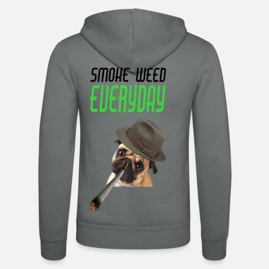 Birthday Hoodies & Sweatshirts - Smoke Weed Everyday - Unisex Zip Hoodie grey