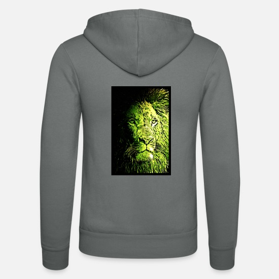Nature Hoodies & Sweatshirts - Lion Lion Poster - Unisex Zip Hoodie grey