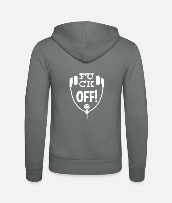 Pause Hoodies & Sweatshirts - Fuck off! Leibl Designs - white - Unisex Zip Hoodie grey