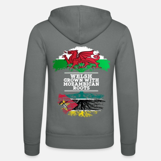 Country Hoodies & Sweatshirts - Welsh Grown With Mozambican Roots - Unisex Zip Hoodie grey