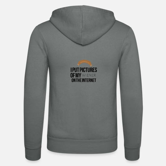 Sausage Hoodies & Sweatshirts - I put pictures of my wiener on the internet - Unisex Zip Hoodie grey