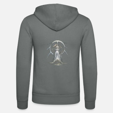 Abstract moon world with waterfall and pyramids - Unisex Zip Hoodie