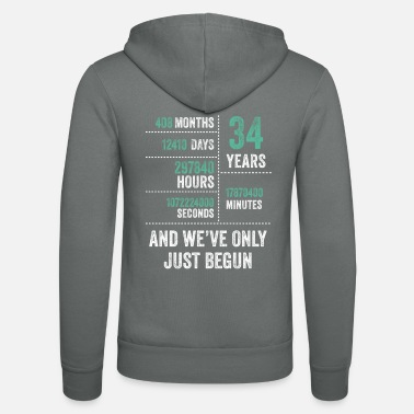 Vintage 34 Years And We've Only Just Begun Funny Birthday - Unisex Zip Hoodie