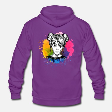 Paint Splatter Hand drawn girl with paints splatter - Unisex Zip Hoodie