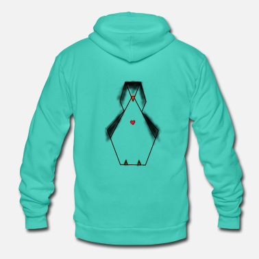 Hipster penguin heart geometric animal gifts Arctic ice cream - Unisex Hooded Jacket by Bella + Canvas