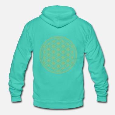 Flower Flower of life in gold - Unisex Hooded Jacket by Bella + Canvas