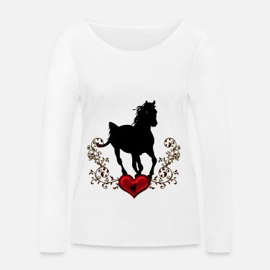 Corazon Stunning black horse - Women's Organic Longsleeve Shirt by Stanley & Stella