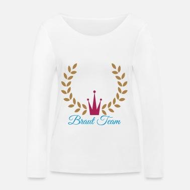 357d2126d Novia equipo guirnalda corona signo Novia boda jga - Camiseta orgánica de  manga larga mujer