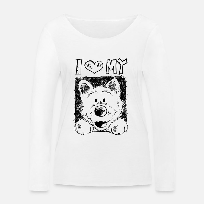 Highland Long sleeve shirts - I Love Westie - West Highland White Terrier - Gift - Women's Organic Longsleeve Shirt white