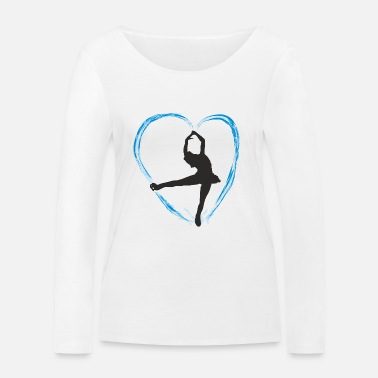 Skate Ice blue heart and a girl ice dance figure run - Women's Organic Longsleeve Shirt by Stanley & Stella