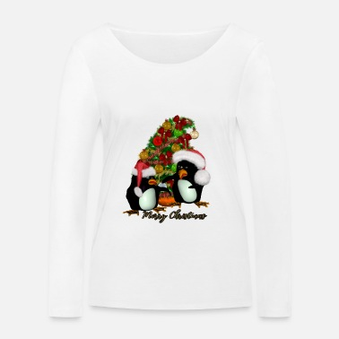 Funny Merry Christmas funny penguin - Women's Organic Longsleeve Shirt by Stanley & Stella