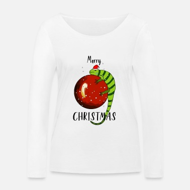 Iguana with Santa Hat - Merry Christmas - Women's Organic Longsleeve Shirt by Stanley & Stella