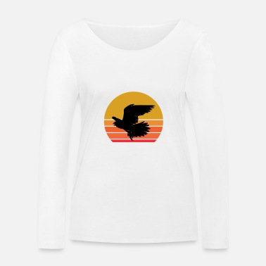 Cute Retro Sun Falcon Wild Animal Bird Gift Idea - Women's Organic Longsleeve Shirt