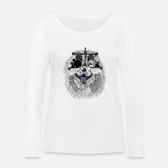 Glasses Long sleeve shirts - Dog with measuring glasses Optician - Women's Organic Longsleeve Shirt white
