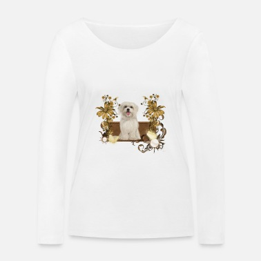 Maltese Cute Maltese puppy with flowers - Women's Organic Longsleeve Shirt