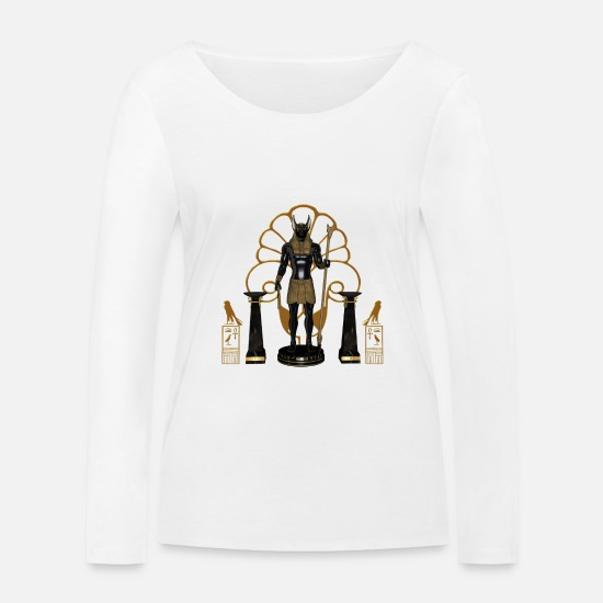 Boss Long sleeve shirts - Anubis the Egyptian god - Women's Organic Longsleeve Shirt white