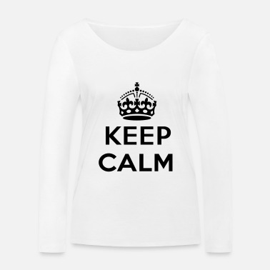 Texte keep calm and your text - T-shirt manches longues bio Femme