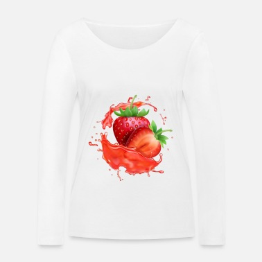 Yum Delicious Juicy Strawberries. Fruit T Shirt. - Women's Organic Longsleeve Shirt