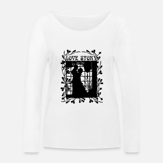 Love Long sleeve shirts - Love story - Women's Organic Longsleeve Shirt white
