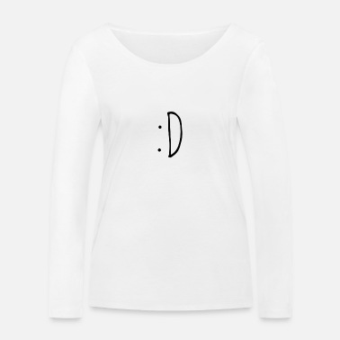 :D - Happy Emoji dark - Women's Organic Longsleeve Shirt