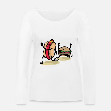 Adults sporty fast food burger and hot dog - Women's Organic Longsleeve Shirt