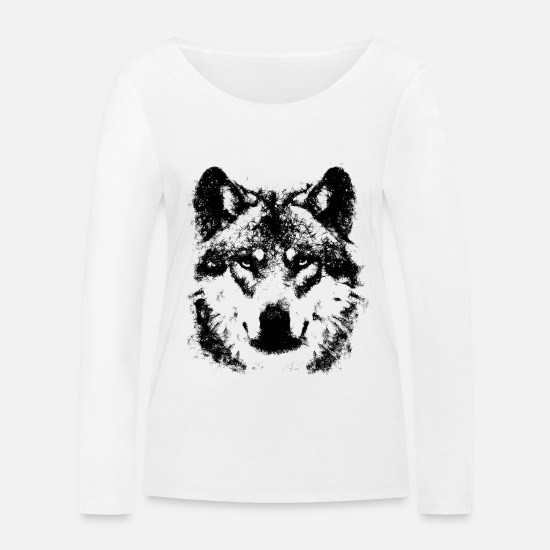 Animal Rights Activists Long sleeve shirts - Wolf from lines - Women's Organic Longsleeve Shirt white