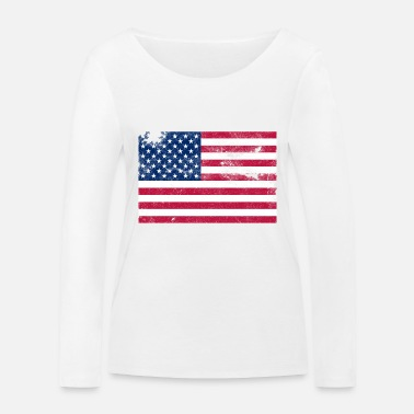 Stripes Distressed Stars and Stripes - Women's Organic Longsleeve Shirt