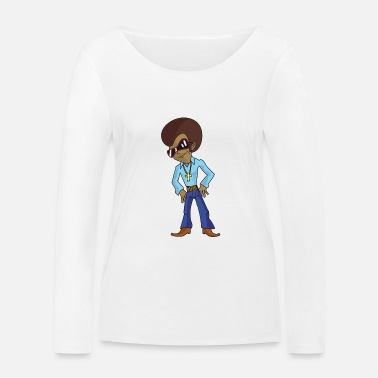 Funky Funky disco cartoon character with afro and sunglasses - Women's Organic Longsleeve Shirt