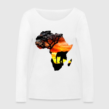 Africa love card - Women's Organic Longsleeve Shirt by Stanley & Stella