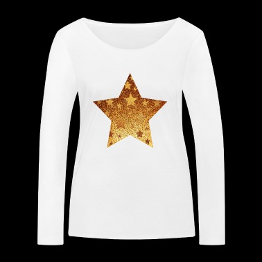 Star with asterisks - gold with gold - Women's Organic Longsleeve Shirt by Stanley & Stella