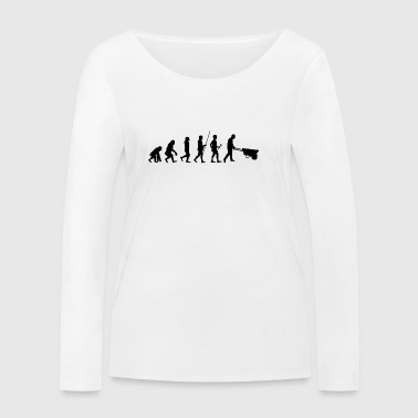 Evolution to the construction worker T-shirt gift - Women's Organic Longsleeve Shirt by Stanley & Stella
