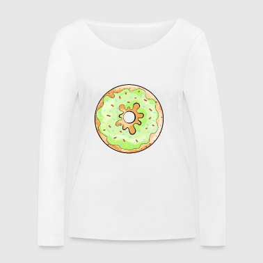 Delicious donut with green frosting cartoon gift - Women's Organic Longsleeve Shirt by Stanley & Stella