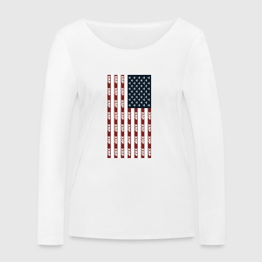 Usa Flag With Ripple XRP Digital Blockchain Crypto - Women's Organic Longsleeve Shirt by Stanley & Stella