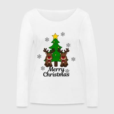 Moose with tree Merry Christmas - Women's Organic Longsleeve Shirt by Stanley & Stella