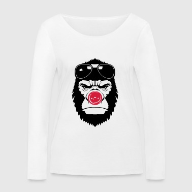 gorilla clown nose humor funny sunglasses 2 - Women's Organic Longsleeve Shirt by Stanley & Stella