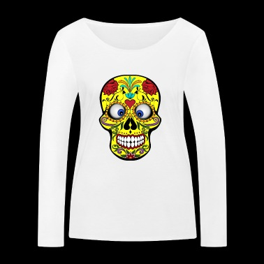 Squinting Colorful Skull Skull Gift - Women's Organic Longsleeve Shirt by Stanley & Stella