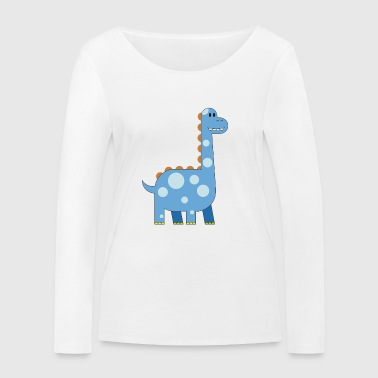 happy dinosaur cuddly toy child sweet primal time - Women's Organic Longsleeve Shirt by Stanley & Stella