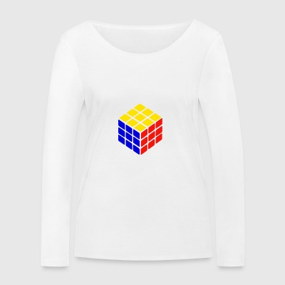 blue yellow red rubik's cube print - Women's Organic Longsleeve Shirt by Stanley & Stella