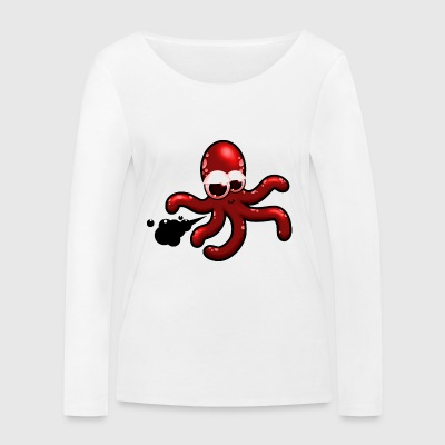 Squid comic red, gift idea - Women's Organic Longsleeve Shirt by Stanley & Stella