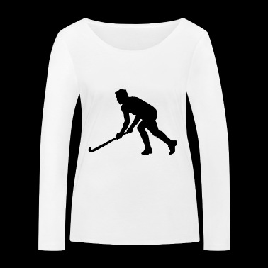 Hockey field hockey silhouette - Women's Organic Longsleeve Shirt by Stanley & Stella